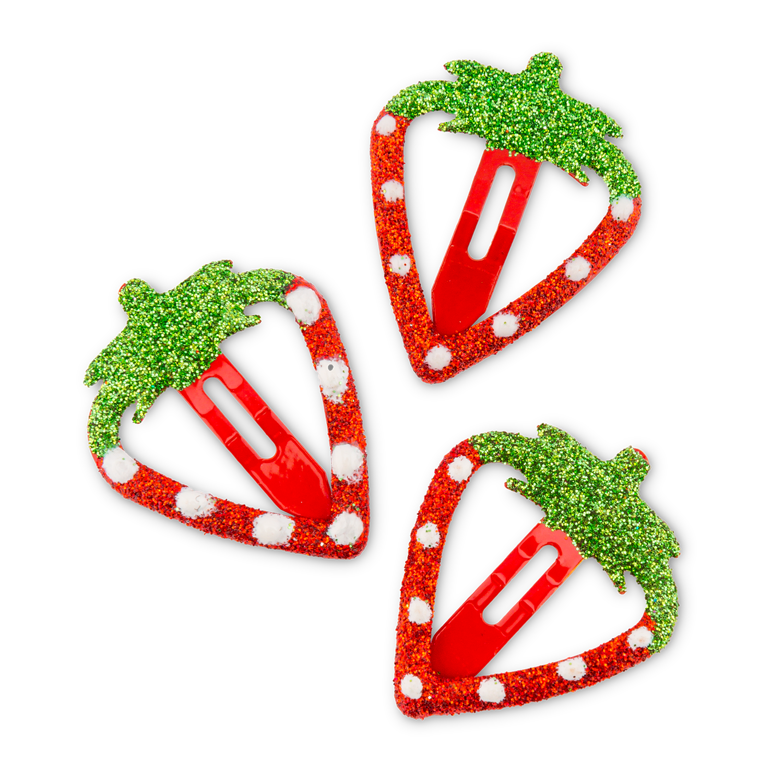 """Haarspangen """"Glitzer-Erdbeere"""""""