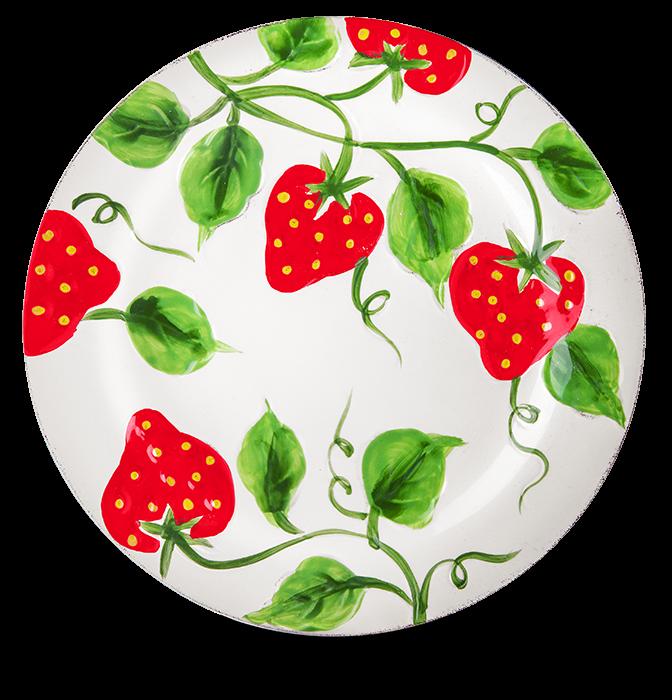 Teller Erdbeere weiß