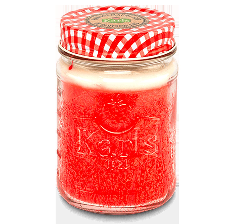 """Kerze im Marmeladenglas """"Erdbeer-Vanille"""""""