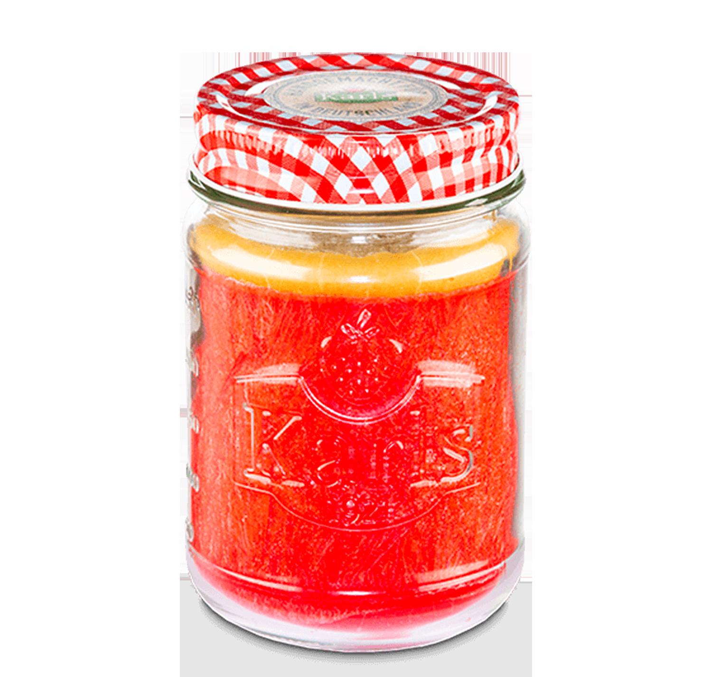 """Kerze im Marmeladenglas """"Erdbeer-Marzipan"""""""