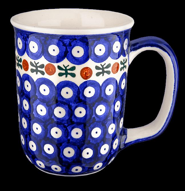 """Kaffeebecher groß """"blau-weiß mit Borte"""""""