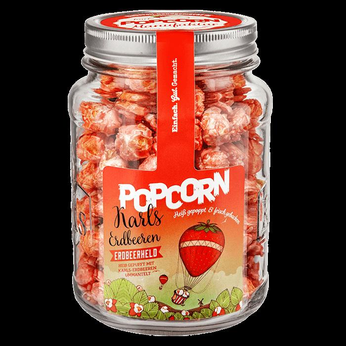 "Popcorn-""Erdbeerheld"" im Glas"