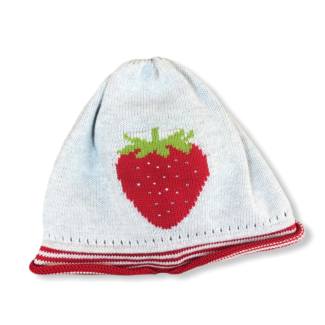 "Mini-Mütze ""Erdbeere"" grau Gr. 53"