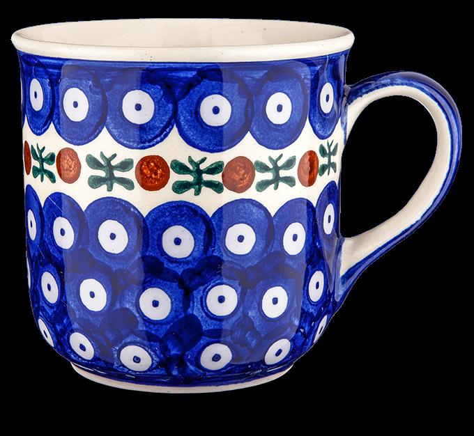 """Kaffeebecher """"blau-weiß mit Borte"""""""