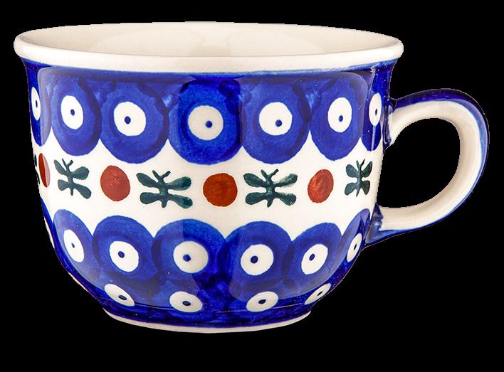 """Kaffeetasse """"blau-weiß mit Borte"""""""