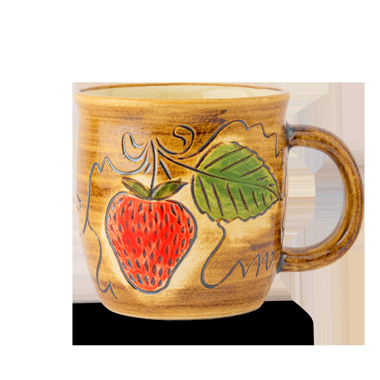 Keramikbecher mit Erdbeeren
