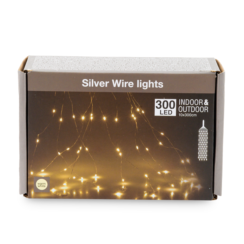 """ Lichtbündel"" Silver Wire lights 300 LED"