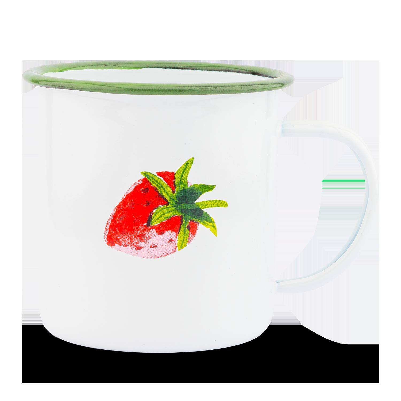 """Emaille-Becher """"Erdbeere"""""""