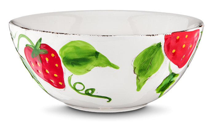 Müslischale Erdbeere weiß