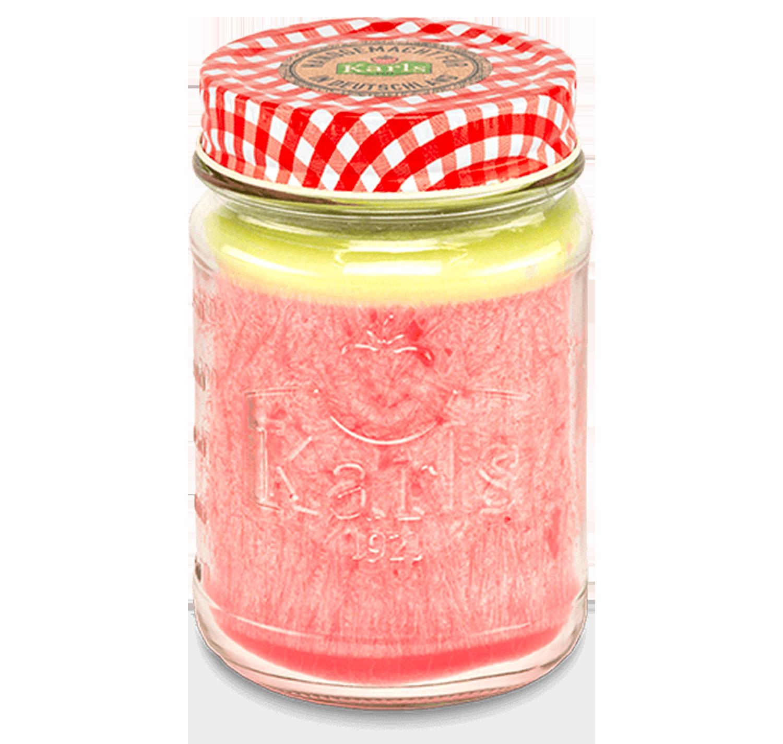 """Kerze im Marmeladenglas """"Erdbeer-Rhabarber"""""""
