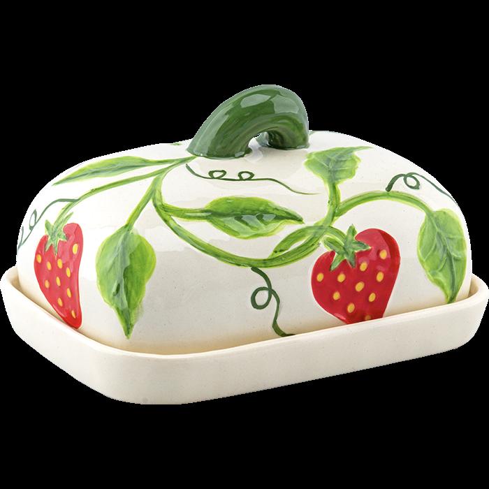 """Butterdose """"Erdbeere"""" weiß"""