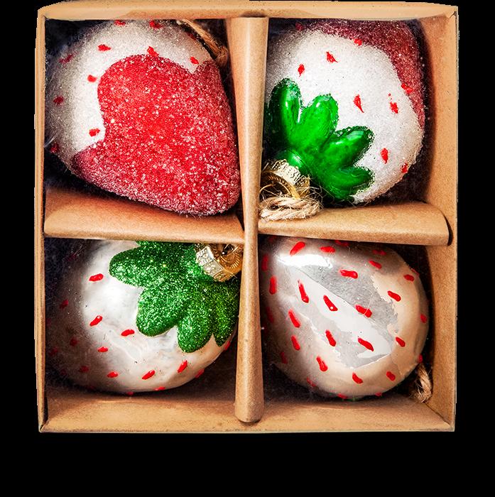 Erdbeer-Glaskugeln gezuckert 4er