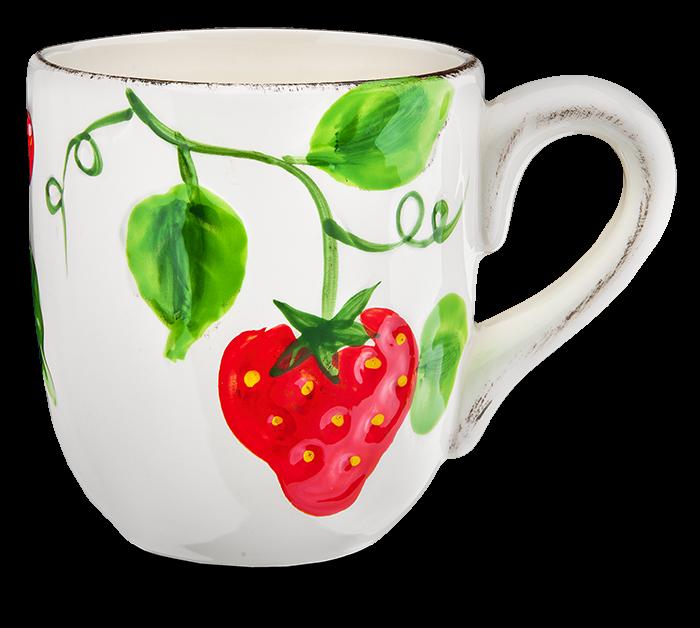 Becher Erdbeere weiß